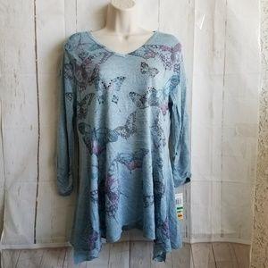 Style & Co Tunic Blouse Sz Petite XL Blue